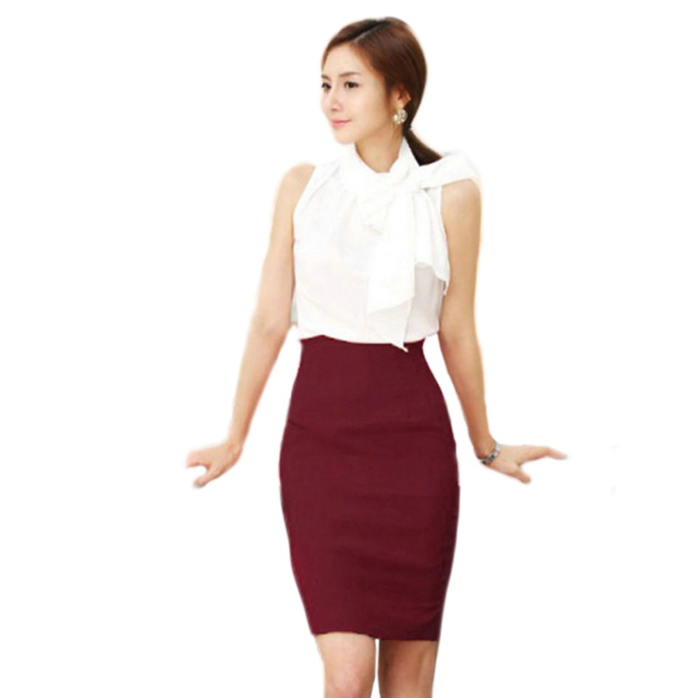 New Women Fashion Cotton Slim Fitted Knee Length Solid Straight Pencil Midi Skirt High Waist Career Skirts