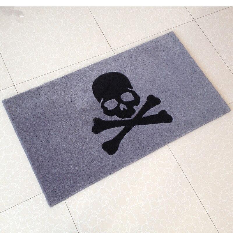 100% acrylique épais populaire crâne tapis pour salon et chambre gris et noir tapis doux enfants chambre tapete logo personnalisé