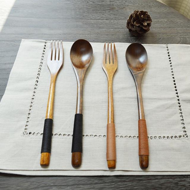 Chinese Wood Tableware wooden Dinner Khaki Spoon Fork With Wire Wooden Spoon Forks & Chinese Wood Tableware wooden Dinner Khaki Spoon Fork With Wire ...