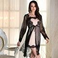 Идеальный благородство женщины Халат Наборы пижамы натурального шелка кружева Полный рукава Sexy пижамы (халат + ремни ночной рубашке) две части