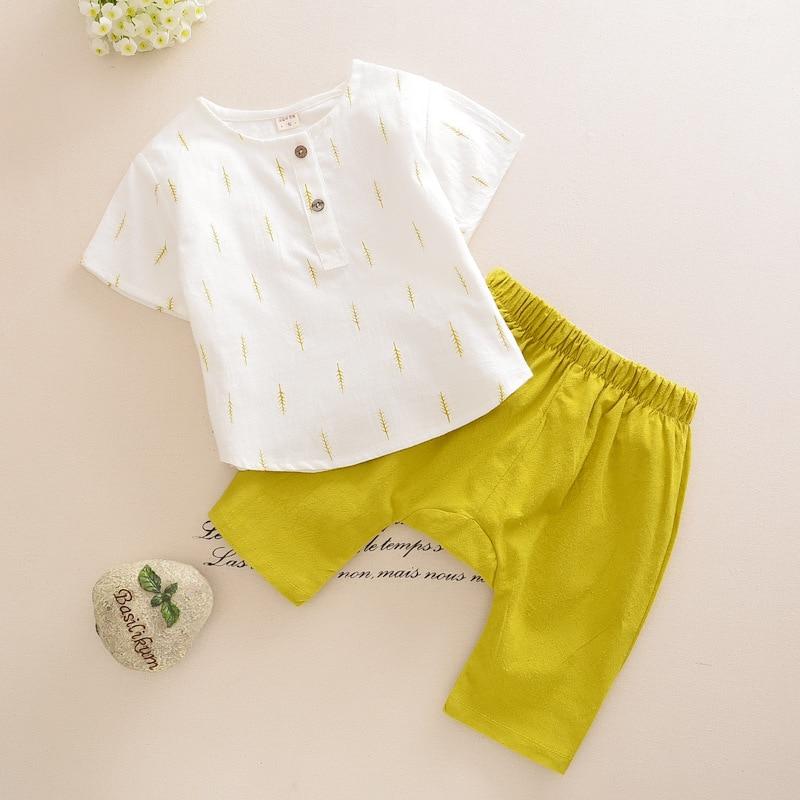 Fashion Brand New Casual Kids Boy Clothes Set Spring Summer Long Short Sleeve O-Neck Cotton Linen Shirt + Pants new fashion boy