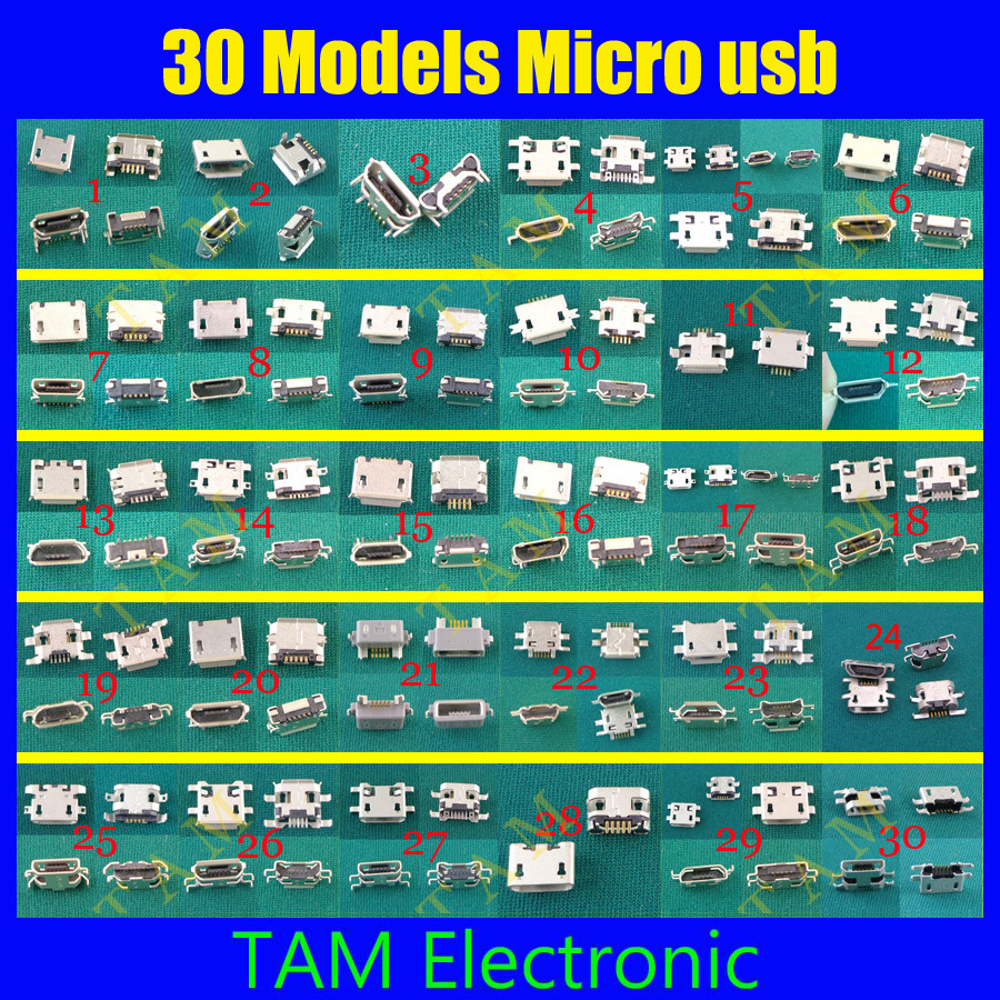 30 Models Micro Usb Connector 60-300pcs/lot Very Common Charging Port For ZTE For Huawei For Samsung For Sony