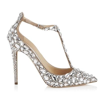 feb468ced0a873 2017 Luxury Diamond Wedding Shoe Jeweled Heel Gladiator Sandals Women  Rhinestone Crystal Embellished T Strap Summer Party Pumps-in Women s Pumps  from Shoes ...