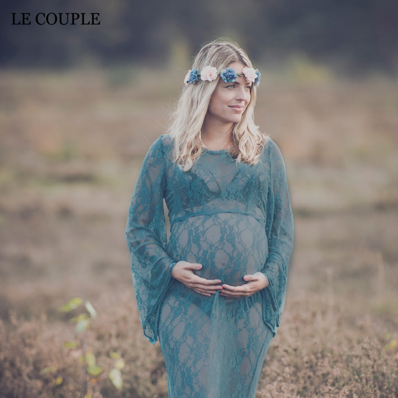 Le Couple Maternity photography Props Maxi Dresses Pregnant Clothes O-neck Lace Maternity Clothes Long Dress For Pregnant Women fashionable plunging neck solid color maxi dress for women