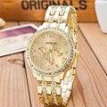 2016 New Famous Brand Gold Crystal Geneva Casual Quartz Watch Women Stainless Steel Dress Watches Relogio Feminino Men Clock Hot