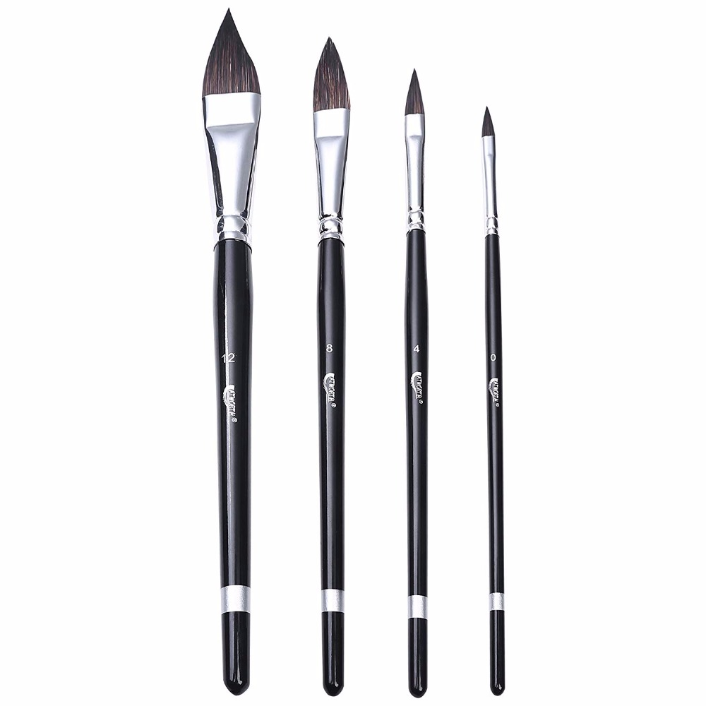ATWORTH Sable Hair Cat's Tongue Paint Brushes Versatile Wash Paint Brush Set Of 4 For Watercolor Paintings