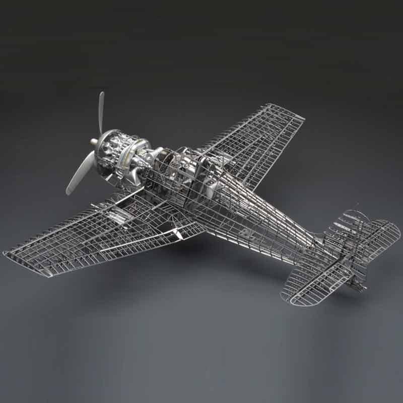Tout en métal alliage DIY assemblée modèle d'avion 1/48 F6F-5 enfer chat combattant squelette puzzle