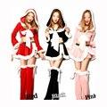 Luvas longas da forma do natal trajes de festa de carnaval vermelho preto rosa mulheres dress sexy hoodies + shorts + footswear adulto