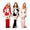 Moda de manga larga trajes de navidad rojo negro rosa fiesta de carnaval mujeres dress sexy hoodies + shorts + footswear adultos