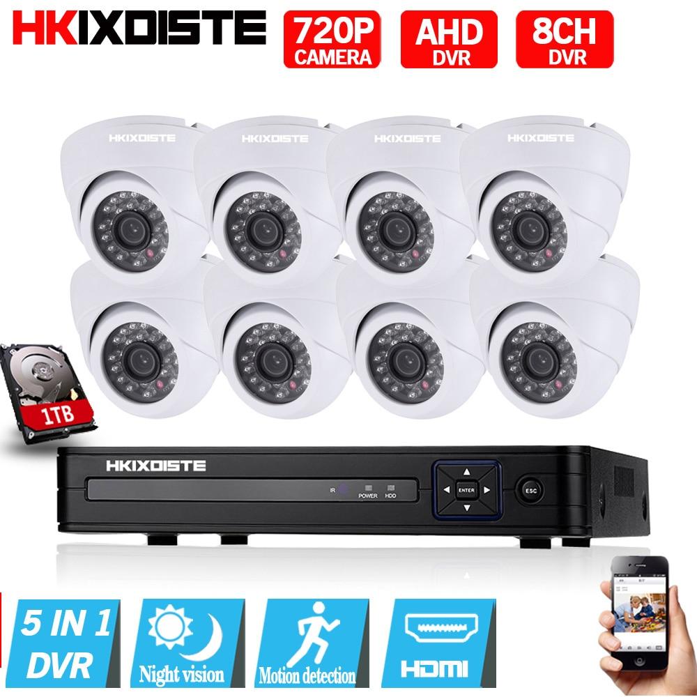 8CH CCTV System 720P CCTV Camera Home Security Video Surveillance Kit 1080P 1080N AHD DVR HD 1.0MP Dome IR-CUT  Indoor Camera 1400tvl ahd camera 8ch 720p video surveillance security camera system 8 channel cctv dvr kit system p2p wifi