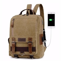 Canvas And Leather Laptop USB Charging Travel Backpack Picnic Backpack Men Multi Function Computer Backpacking Bags