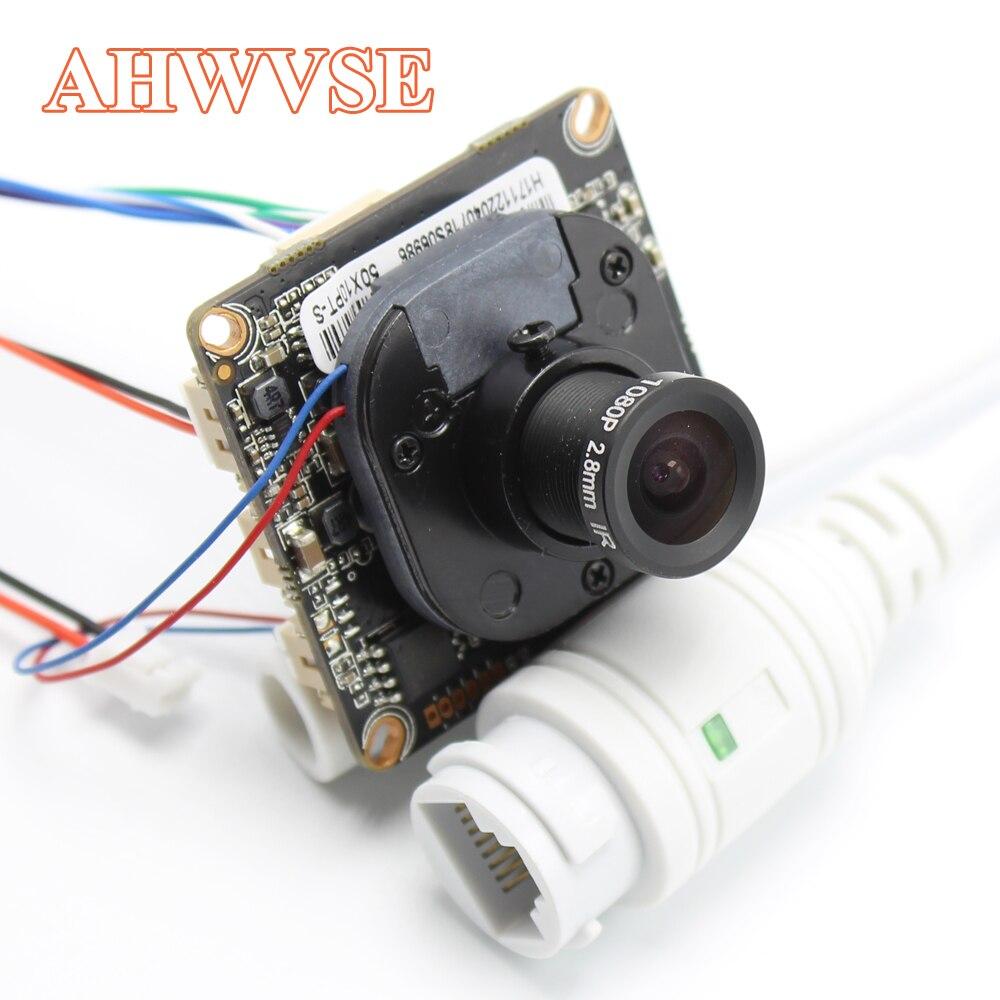 AHWVE bricolage 1080 P 2MP IP caméra module carte avec IRCUT RJ45 câble ONVIF H264 Mobile APP XMEYE Serveillance CMS 2.8mm lentille