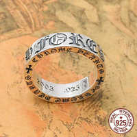 S925 sterling silver men's ring personality fashion classic jewelry punk retro gothic cross shape 2018 new gift to send lover