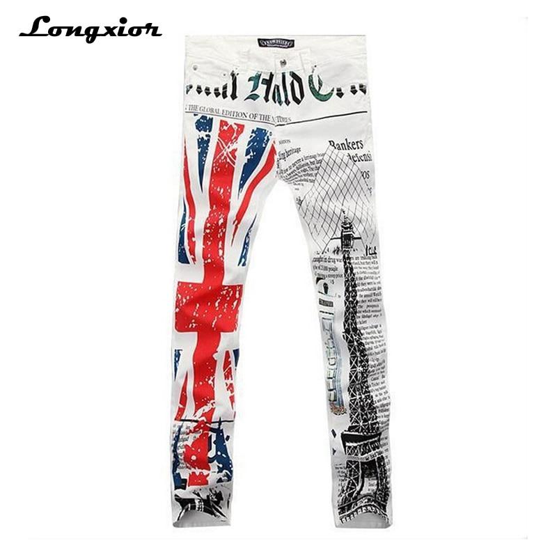 2017 men's fashion print jeans English flag Eiffel tower
