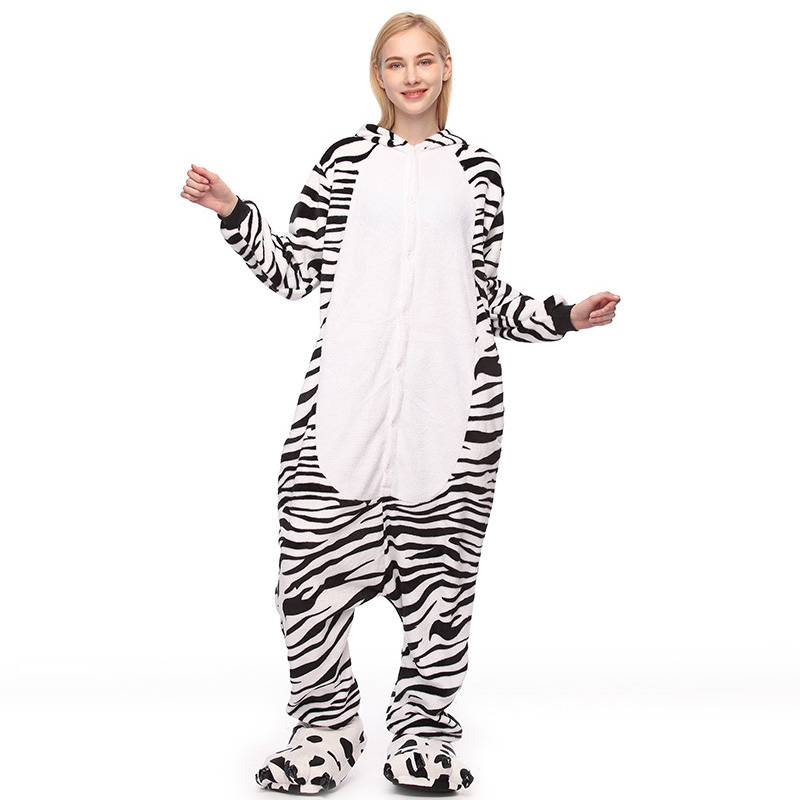ZDFURS *New Unisex Adult Cartoon Animal Zebra Pajamas Costume Sleepwear For Men Women Pyjamas Flannel Hoodie Pajamas