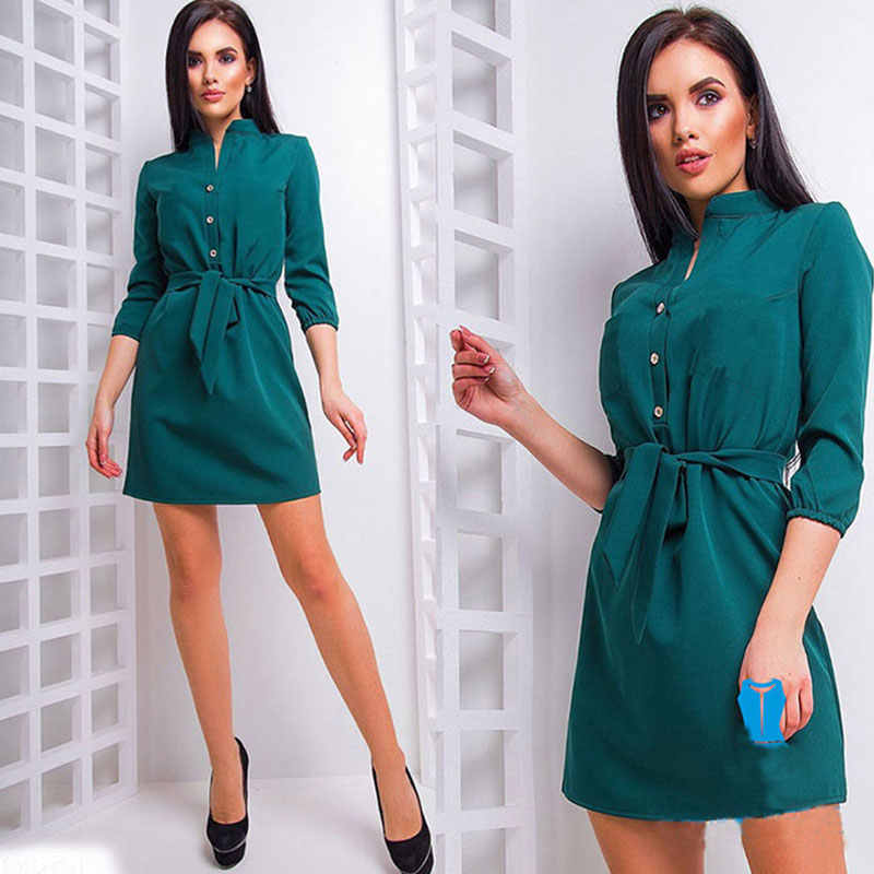 Solid Button Lace-up Mini Dress Women Casual Stand Neck Three Quarter Sleeve Dresses Summer Ladies Fashion Simple Dress Vestidos