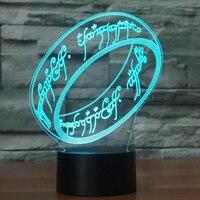 3D Кольца настольная лампа LED 7 Красочные Luminaria палец кольцо Ночная USB прикроватной тумбочке сна светильники Lampara Украшения в спальню подарки