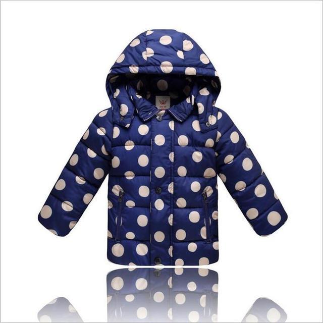 Crianças para baixo casaco, inverno 2016 meninos e meninas dot para baixo quente jaqueta crianças casaco quente de Alta Qualidade Para 2-4 anos de idade da criança