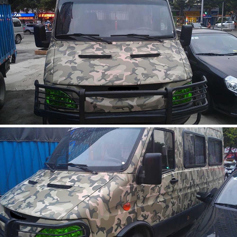 Araba-styling 50x200cm kamuflaj PVC yapıştırıcısı vinil Film araba sarma ordu askeri Camo Woodland dijital etiket araç DIY çıkartması