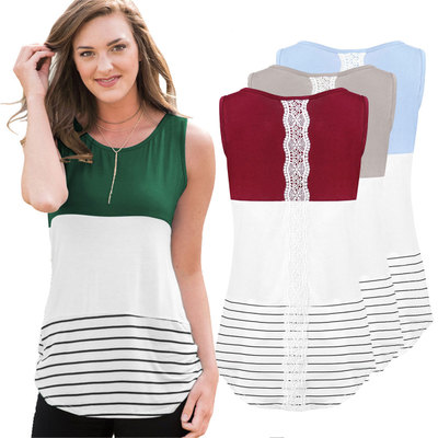 Fashion Summer Tshirt 2018 Striped Short Sleeve T Shirt Women Casual T-Shirt Female Lace Top Tees Cute Girl