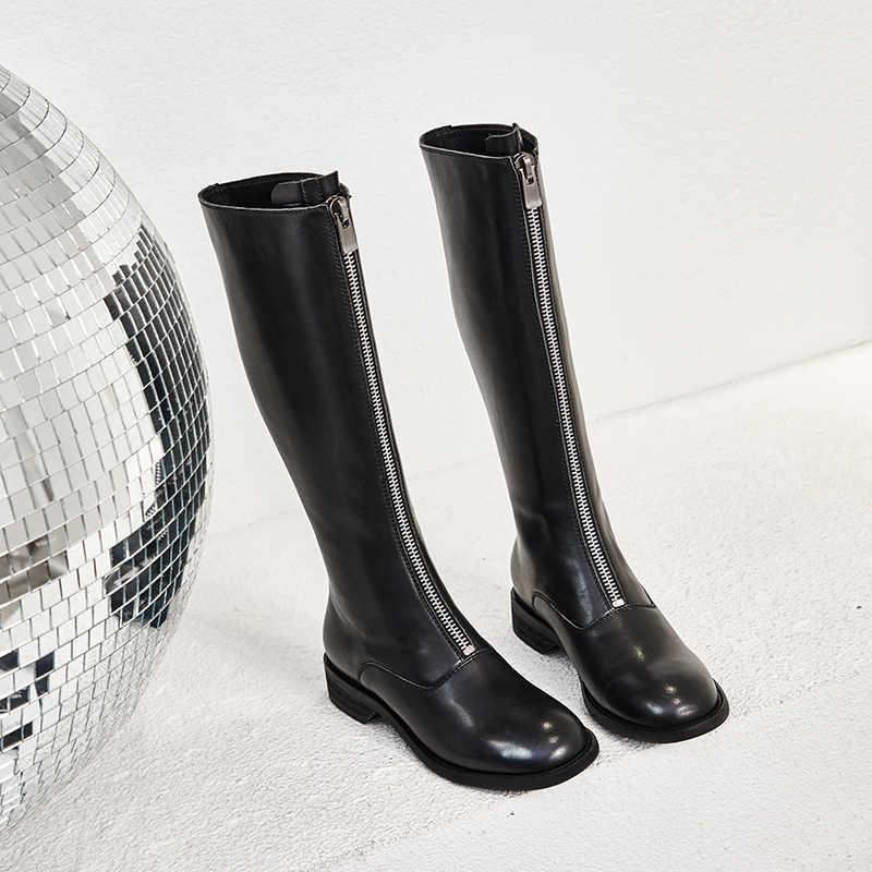 ISNOM Knie Hohe Stiefel Frauen Kuh Leder Boot Runde Kappe Zip Schuhe Weibliche Mode Dicken Heels Motorrad Schuhe Damen 2020 neue