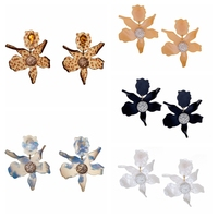 Europe and the United States fashion jewelry wholesale resin lily flower ear clip earring ornament female