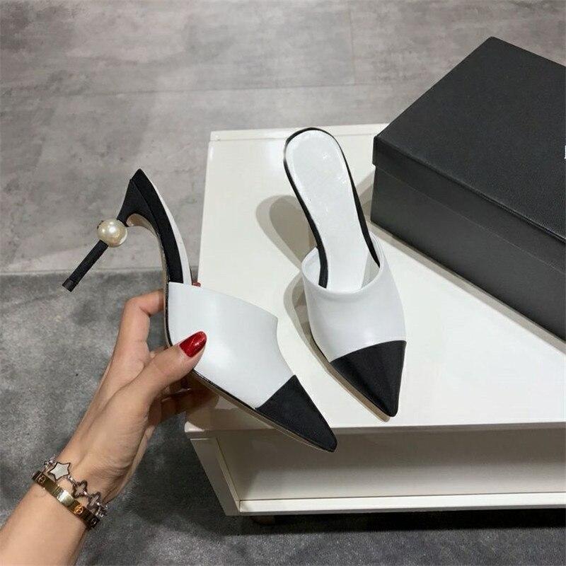 Marka kobiety muły sandały skóry jagnięcej skóry projekt obcas kobieta pearl obcasy projektant sandały Mule slajdów pantofel buty kobieta w Kapcie od Buty na  Grupa 2