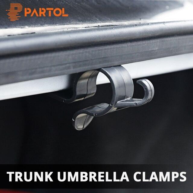 Partol 2pcs Car Rear Trunk Mounting Bracket Umbrella Holder Automobile Trunk Organizer for Umbrella Hanging Hooks for Travelling