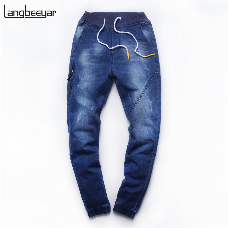 2017 New Fashion Brand Jeans Men Elastic Waist Slim Fit Denim Trousers High-quality Casual Black Mens Skinny Jeans M-5XL jeans men s blue slim fit fashion denim pencil pant high quality hole brand youth pop male cotton casual trousers pant gent life