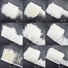 1Meter/lot white ostrich feathers trimming Fringe rooster ribbon for DIY sewing dress clothes wedding plumes decoration