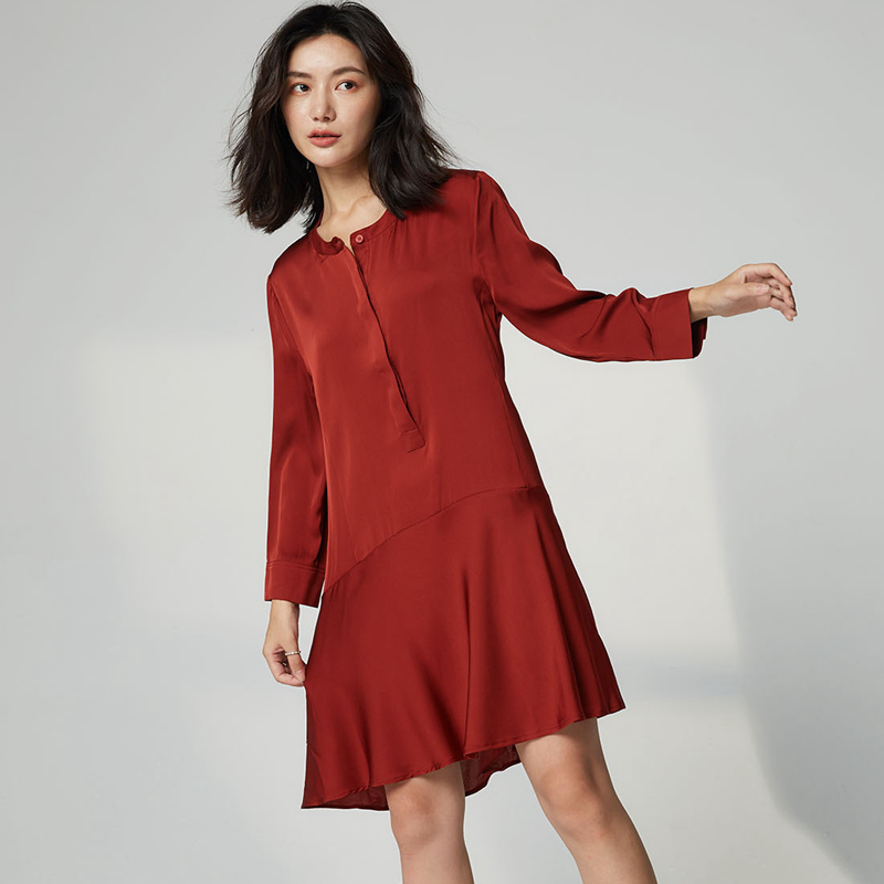 100 Silk Dress Women Elegant Design Solid O Neck Three Quarter Sleeves 2 Colors High Quality