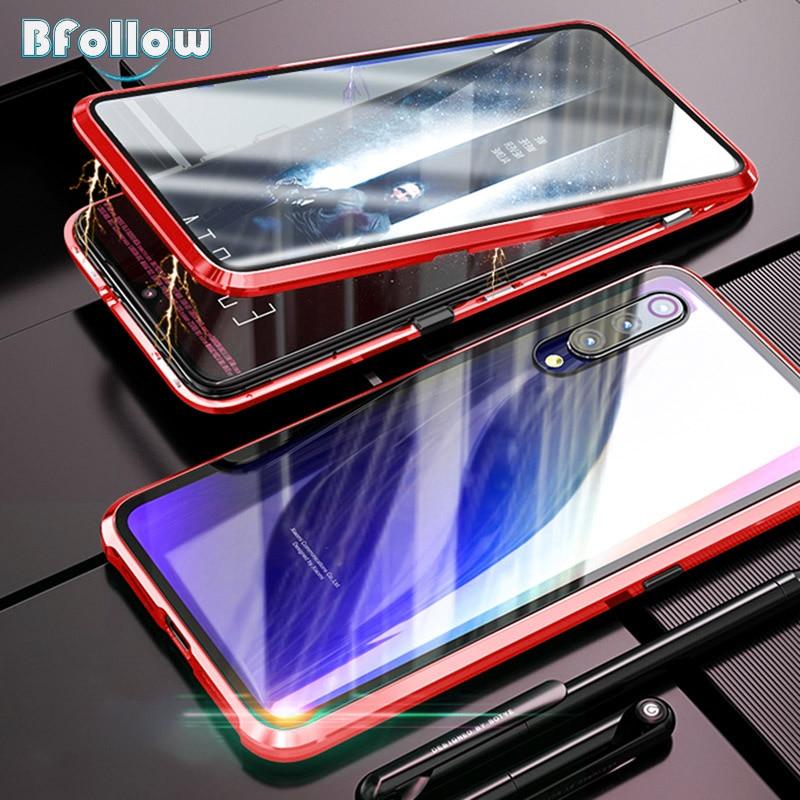 Bfollow 360 front & back caso de vidro para samsung galaxy a7 a9 2018/a30 a50 a60 a70 magnética capa alumínio de corpo inteiro metal