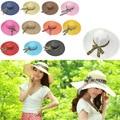 Fashion Sun Hat Women'S Summer Foldable Straw Hats Hollowing Caps For Women Beach Headwear Bowknot Ribbon