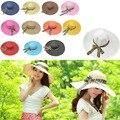 Gafas de Sol de moda Sombrero de la Mujer Del Verano Plegable sombrero de Paja Vaciamiento Casquillos Para Las Mujeres Beach Headwear Bowknot de La Cinta