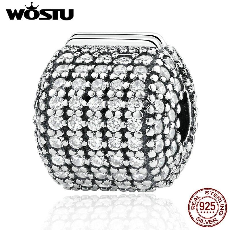 Hot Sale Real 925 Sterling Silver Glamorous Pave Barrel Clip Charm Beads Fit Original Pandora Bracelet