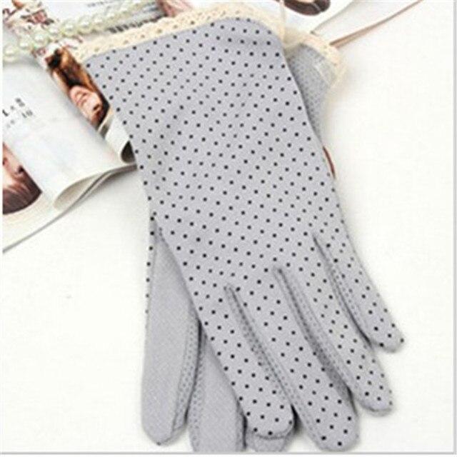 KLV 1 Pair Elegant Women's Driving Slip-resistant Sunscreen Cotton Gloves Fashion Dot Lace Female Sun Protection Non-slip Glove 3