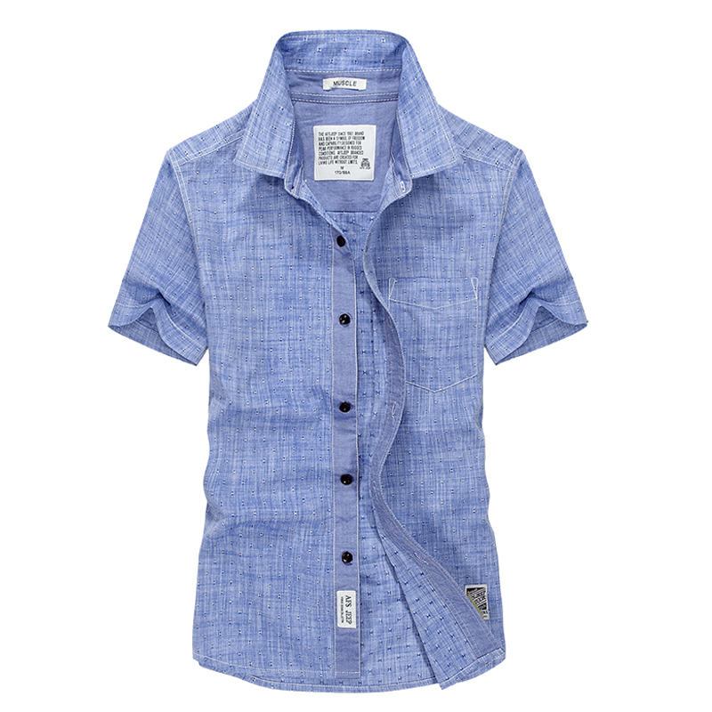 Más el tamaño de la camisa informal de los hombres de manga corta camisa masculina Verano de algodón sólido estilo europeo camisa de lino de los hombres de marca camisa