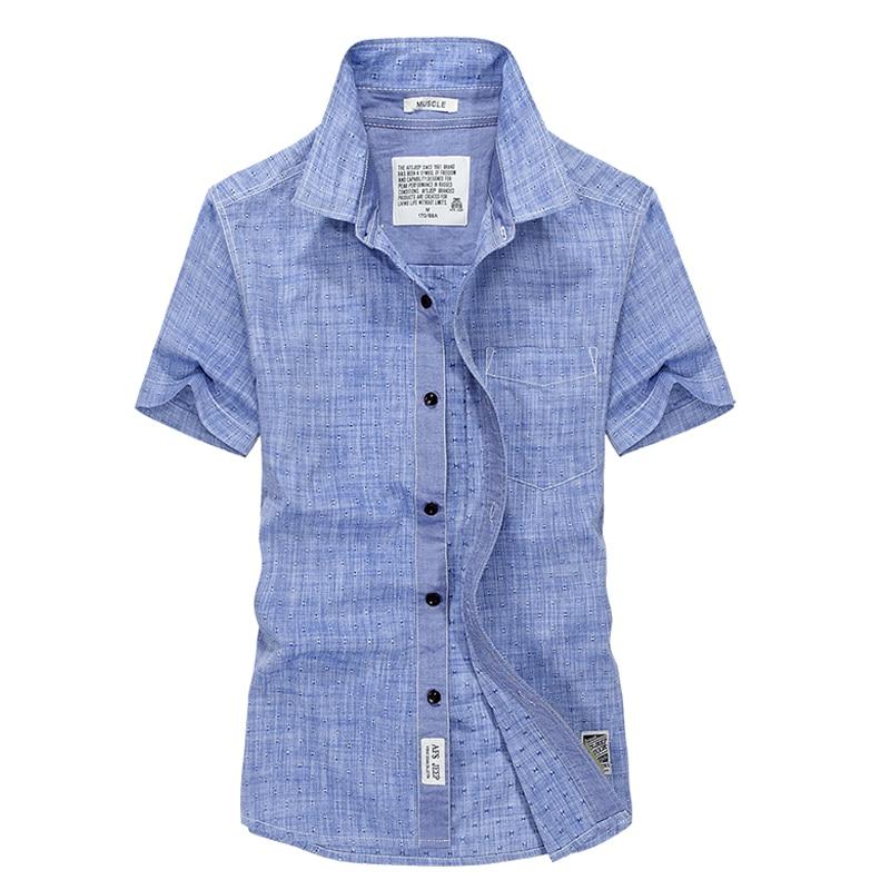 Plus size casual shirt heren korte mouw camisa masculina Zomer katoen solide Europese stijl linnen shirt heren merk dress shirt