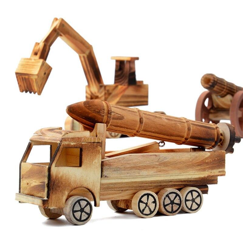Wooden Simulation Missile Car Model Development Kids Toys Decor Crafts