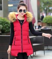 HEE GRAND Colete Feminino Winter Coats Artificial Fur Collar Casual 6 Colors Zipper Long Hooded Vest Women Outerwear