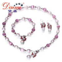 DAIMI 9 10 Mm Pearl Sets Natural Freshwater Agate Green Jade Cats Eyes Stone Turquoise Necklace