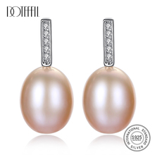 DOTEFFIL Earrings Genuine Natural Freshwater Pearl 925 Sterling Silver Drop Earrings Pearl Jewelry Women Wedding/Party Gift