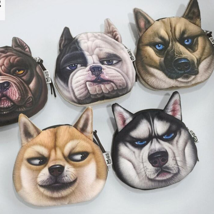 M060 Cute Cartoon Women Purses Pets Akita dog Siberian Husky Personality Plush Coin Purse Wallet  Women Student Gift Wholesale akita