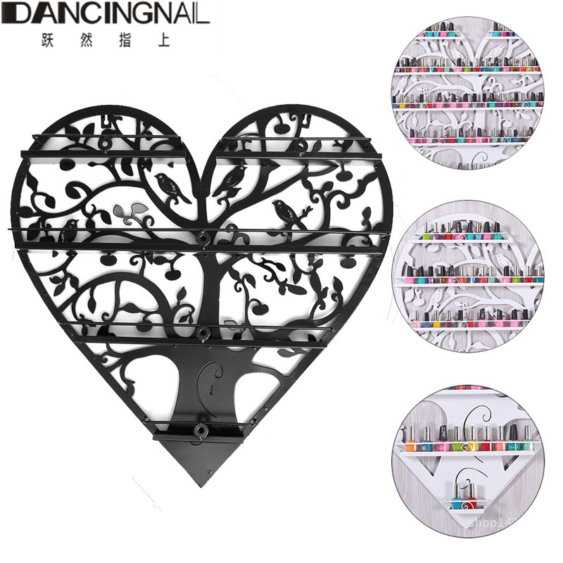 4 Layers Nail Art Nail Polish Rack Stand Heart Shaped Wall Shop Racks Solan Manicure Cosmetic Display Shelf Storage Box 60x60CM children s bookcase shelf bookcase cartoon toys household plastic toy storage rack storage rack simple combination racks