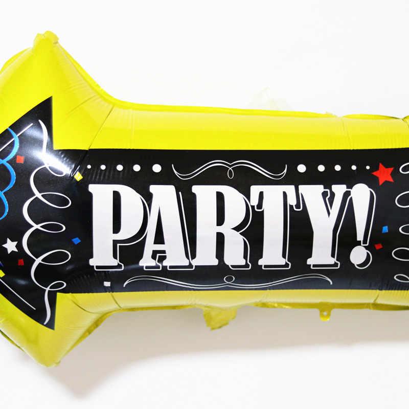 82*50 センチビッグ矢印黄色箔バルーン道路ビーコン若いシングルパーティー道標風船ハッピーバースデーデコレーション子供おもちゃ