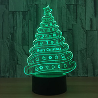 ES-692 New Atmosphere Of Christmas Tree Night Lamp USB LED Lamp 3D Colorful Color Visual Touch Nightlight