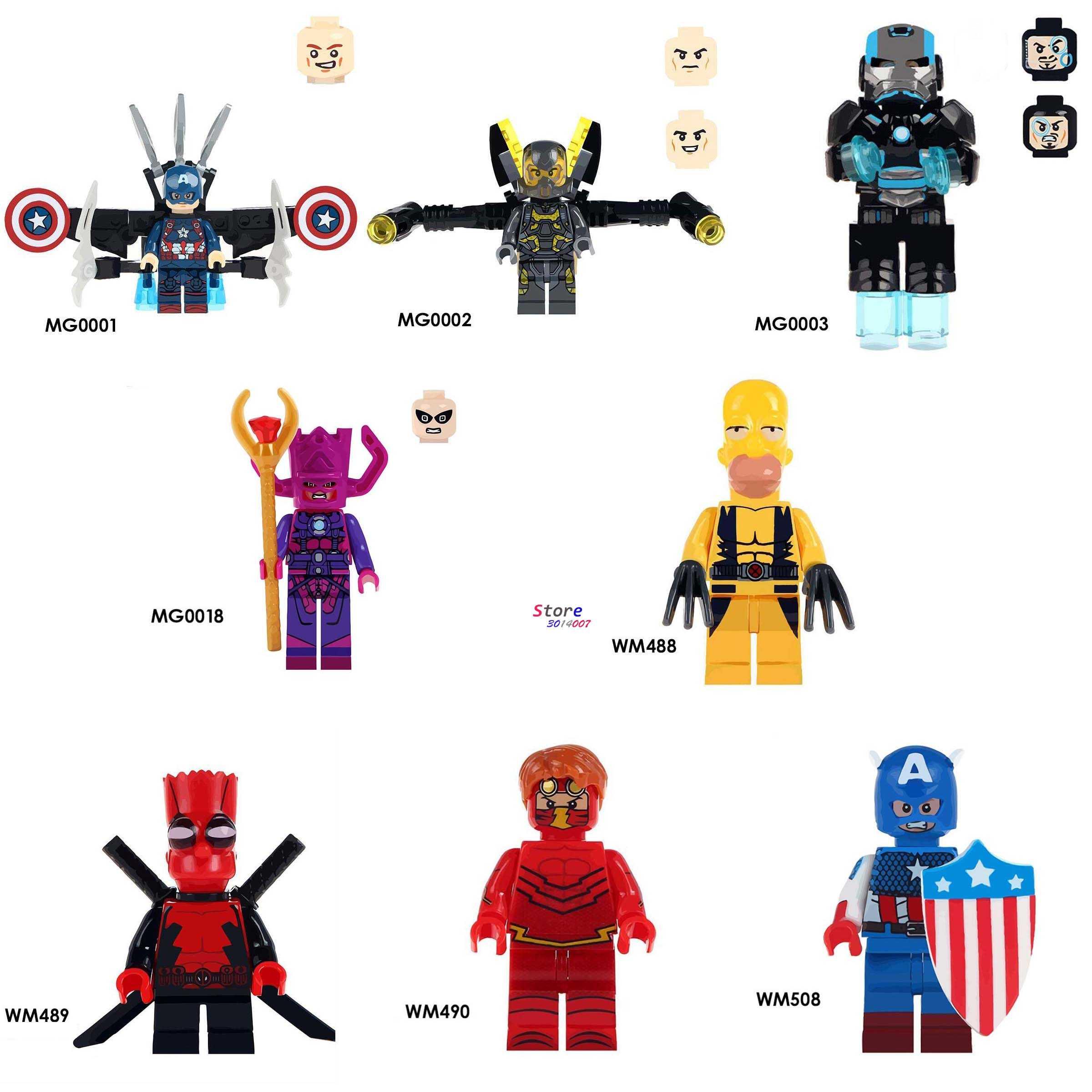Satu Kapten Amerika Kuning Jaket Iron Man Galaktus Mesin Perang Deadpool Flash Bangunan Blok Mainan untuk Anak-anak