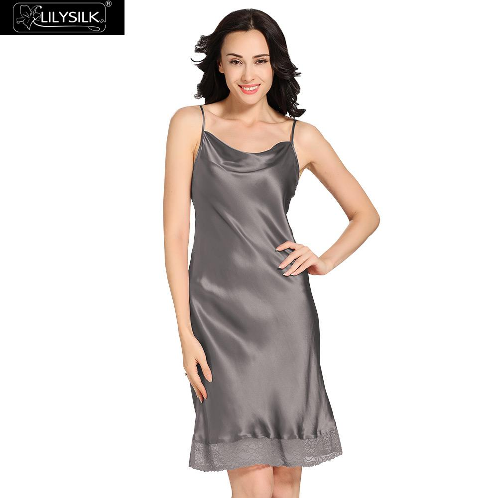Lilysilk Sleepwear Silk Slip Pure Nightie Nightgown Women Spaghetti Strap  Lace Sexy Ladies Sleeping Dress 22 Momme Bride 2016-in Nightgowns    Sleepshirts ... d7978a806