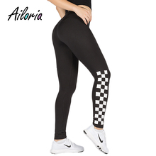 Фотография Ailoria Plaid Printed Fitness Leggings High Waist Push Up Brand Checkboard Workout Leggin Trouser Pants Fashion Women Bottom