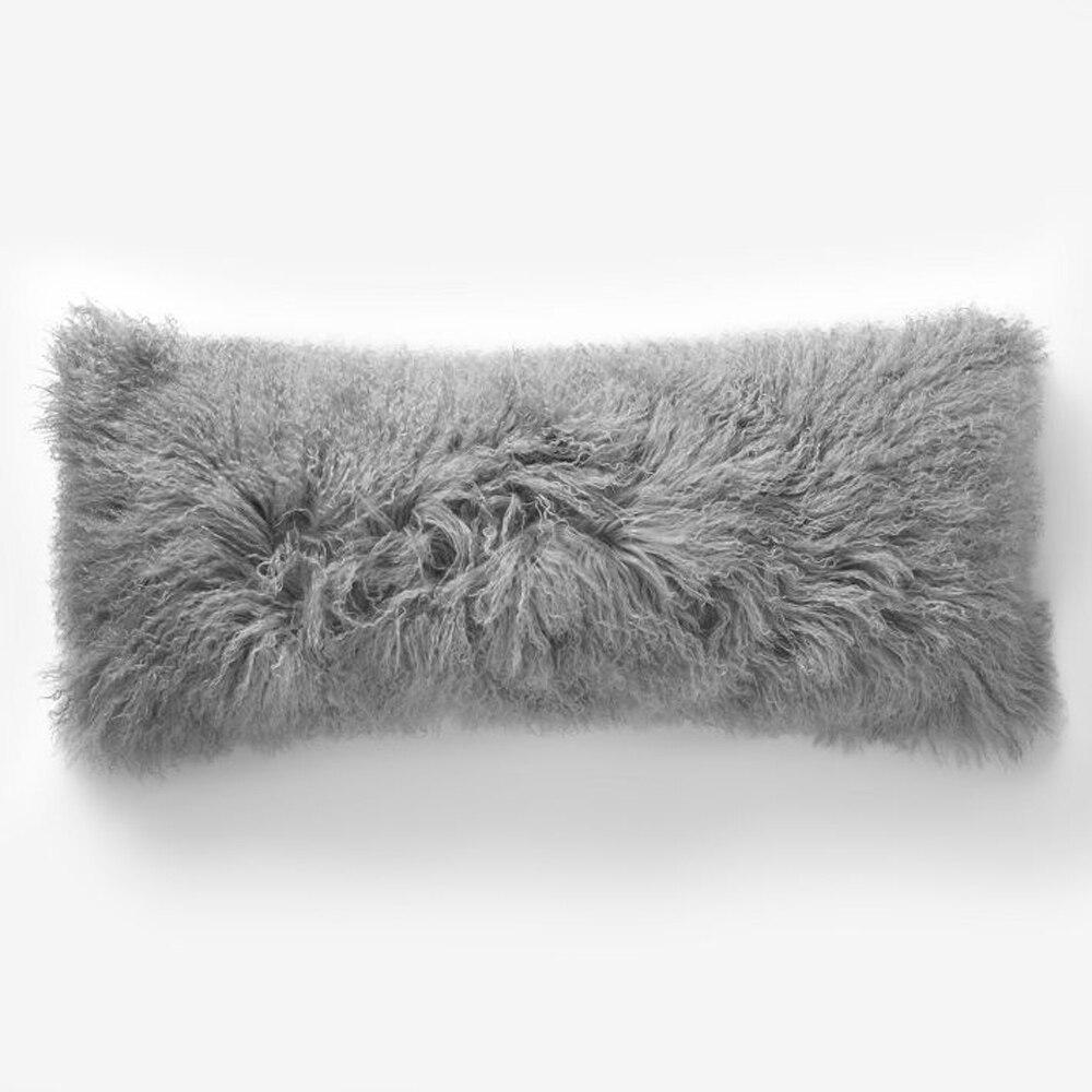 light gray tibetan fur cushion cover curly chair mongolian fur pillow covers for sofa decorative pillows capa de almofada new